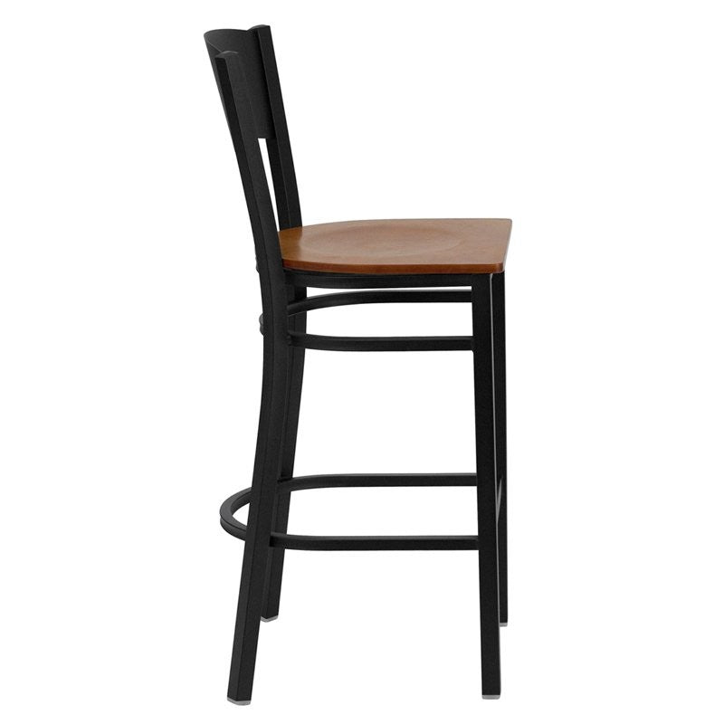 "Dyersburg 29""H Metal Barstool Black Circle Back, Cherry Wood Seat"