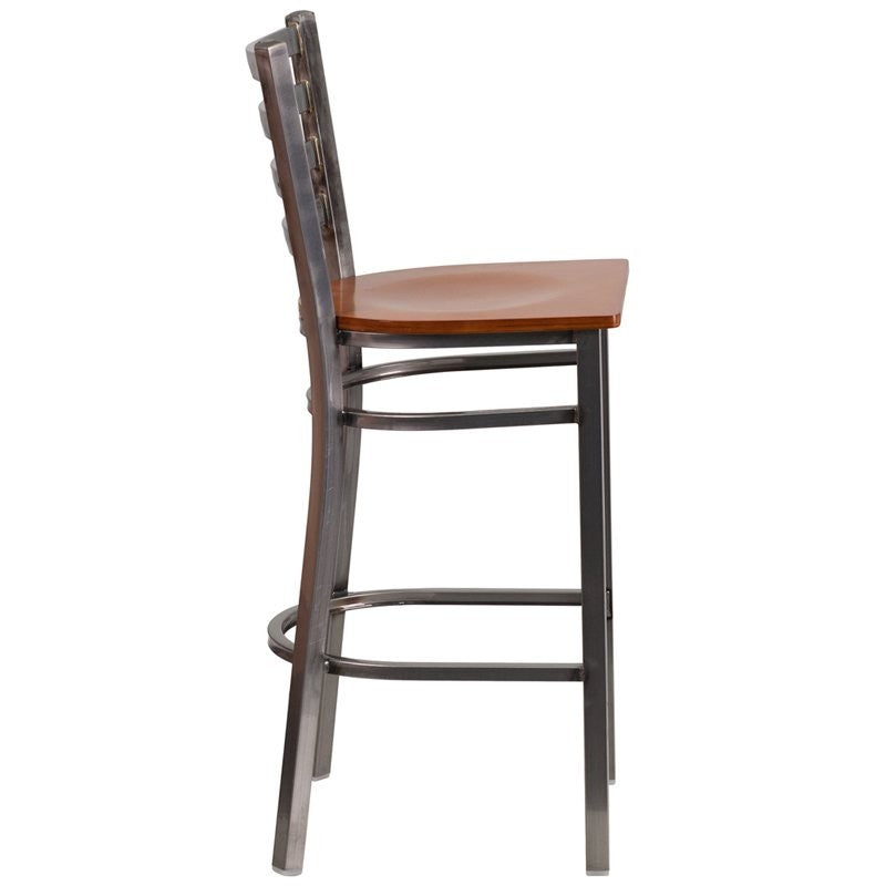 "Dyersburg 29""H Metal Barstool Clear Coat Ladder Back, Cherry Wood Seat"
