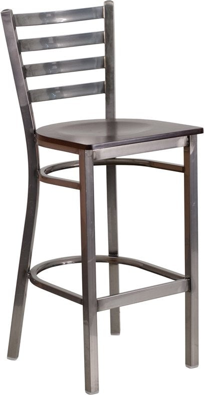 "Dyersburg 29""H Metal Barstool Clear Coat Ladder Back, Walnut Wood Seat"