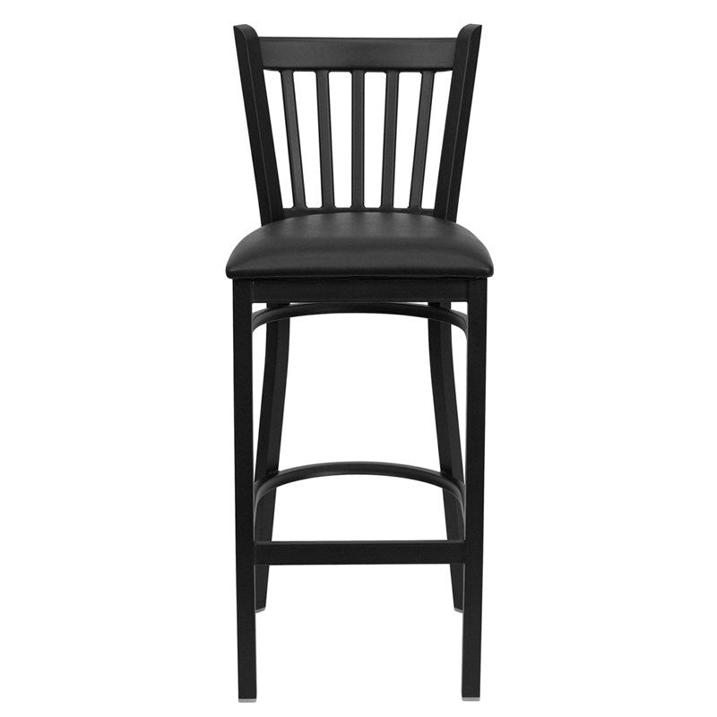 "Dyersburg 30""H Metal Barstool Black Vertical Back, Black Vinyl Seat"