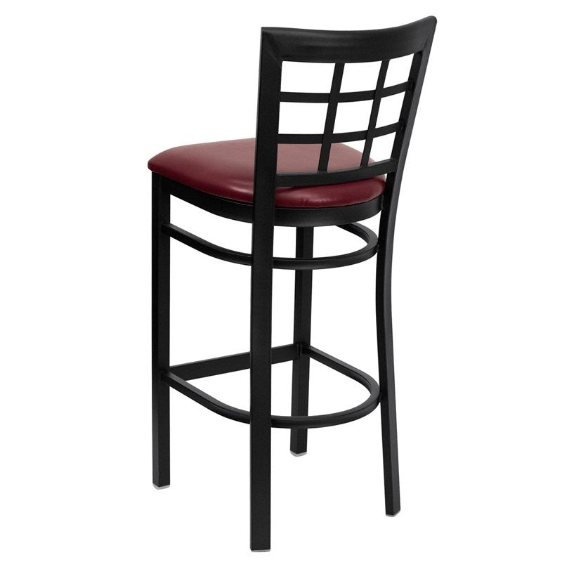 "Dyersburg 31""H Metal Barstool Black Window Back, Burgundy Vinyl Seat"