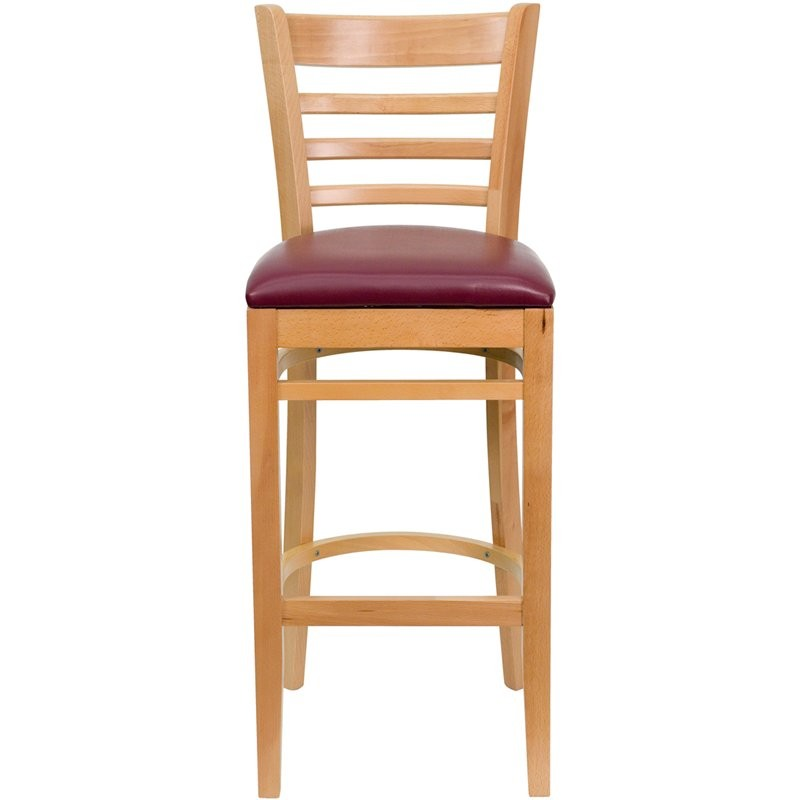 "Dyersburg 31""H Wood Barstool Ladder Back Natural, Burgundy Vinyl Seat"
