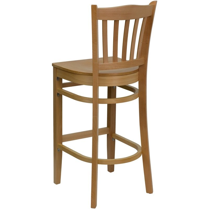 "Dyersburg 30""H Wood Barstool Vertical Slat Back Natural Wood Seat"