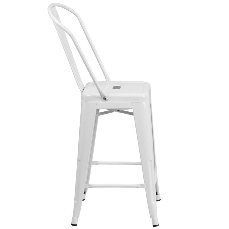 "Brimmes 24""H Metal Counter Stool White w/Curved Vertical Slat"