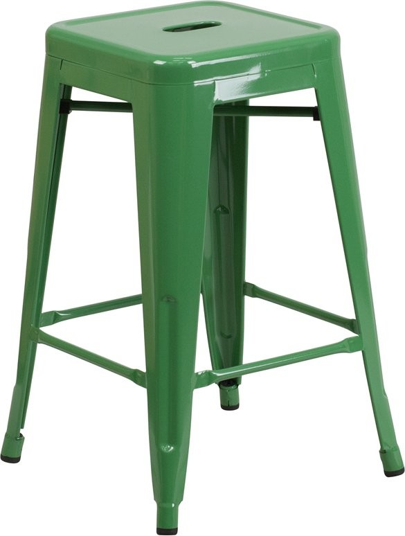 "Brimmes 24""H Metal Counter Stool Backless Green w/Square Seat, Stackable"