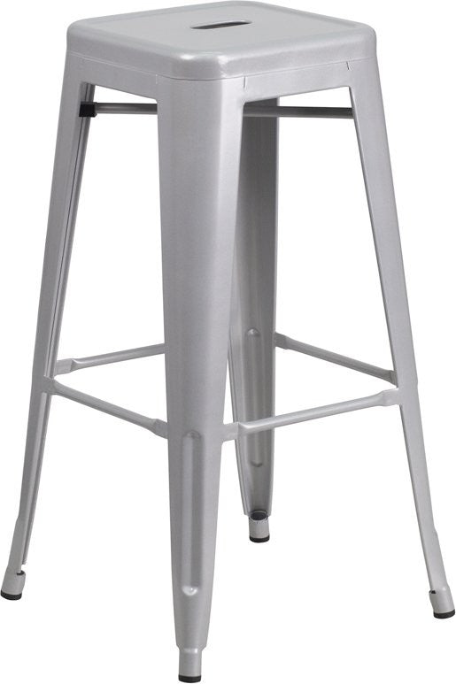 "Brimmes 30""H Metal Barstool Backless Silver w/Square Seat, Stackable"