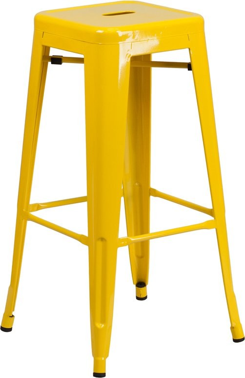 "Brimmes 30""H Metal Barstool Backless Yellow w/Square Seat, Stackable"