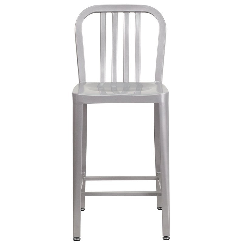 "Brimmes 25""H Metal Counter Stool Silver w/Vertical Slat Back"