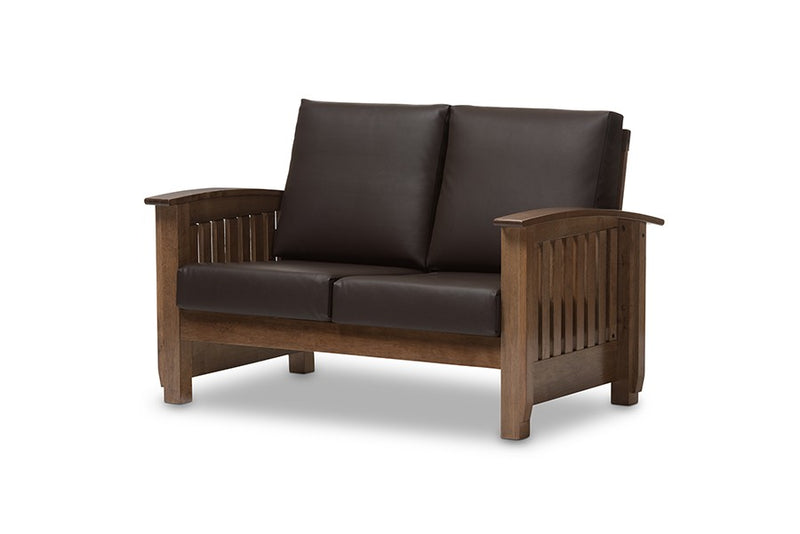 Charlotte Faux Leather 2-Seater Loveseat, Dark Brown