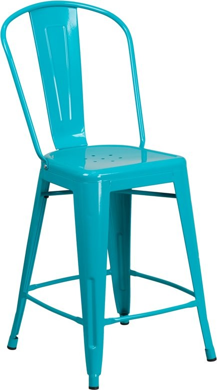 "Brimmes 24""H Metal Counter Stool Crystal Teal-Blue w/Curved Vertical Slat"