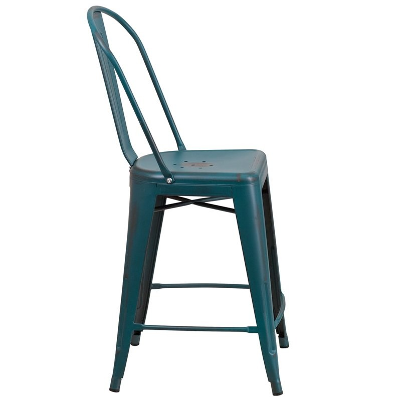 "Brimmes 24""H Metal Counter Stool Distressed Blue-Teal w/Curved Vertical Slat"