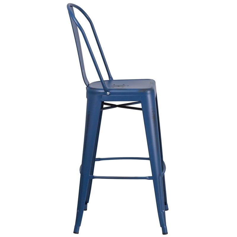 "Brimmes 30""H Metal Barstool Distressed Antique Blue w/Curved Vertical Slat"