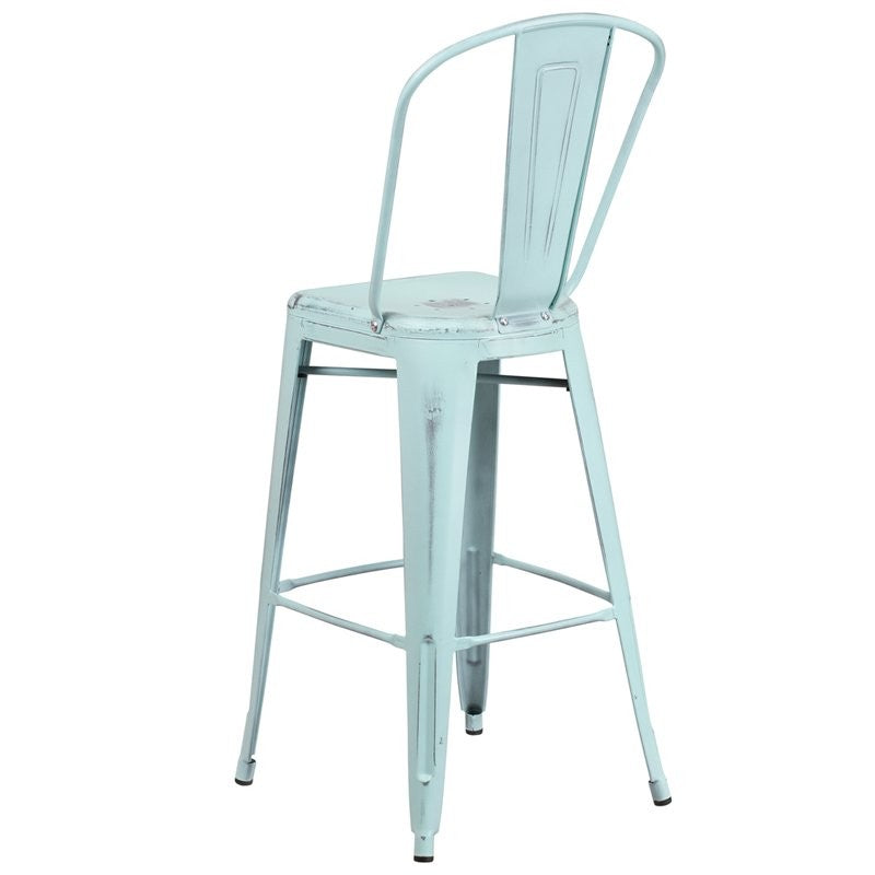 "Brimmes 30""H Metal Barstool Distressed Green-Blue w/Curved Vertical Slat"