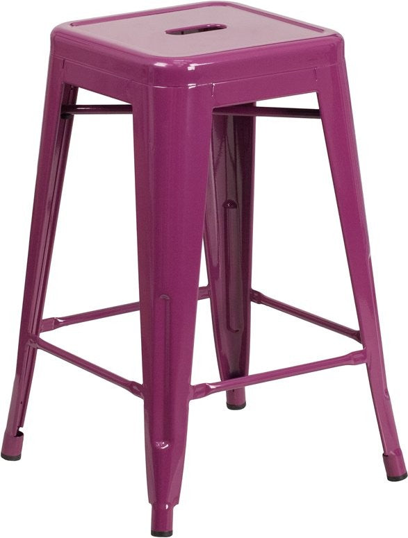 "Brimmes 24""H Metal Counter Stool Backless Purple, Stackable"
