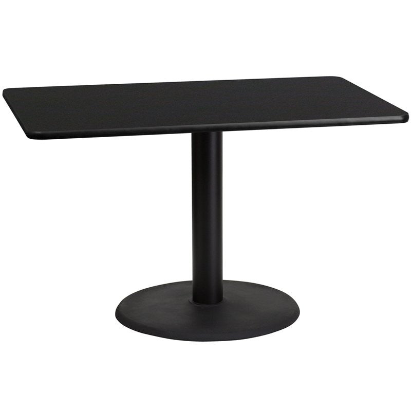 "Dyersburg 30'' x 48'' Rectangular Black Laminate Table Top w/30""H Round Base"