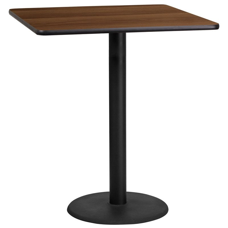 "Dyersburg 36'' Square Walnut Laminate Table Top w/42""H Round Base"