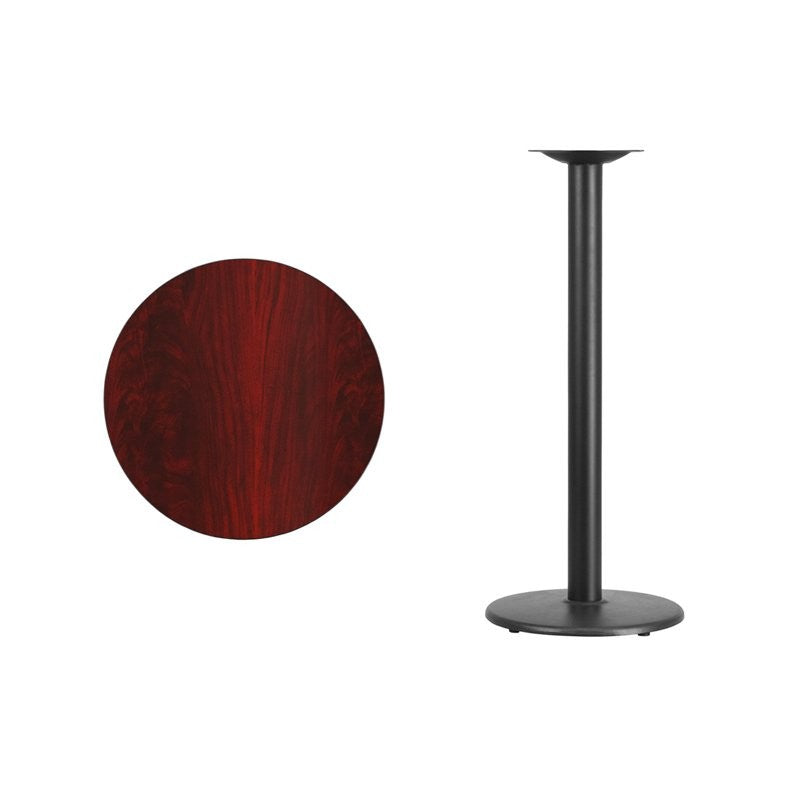 "Dyersburg 24'' Round Mahogany Laminate Table Top w/42""H Round Base"