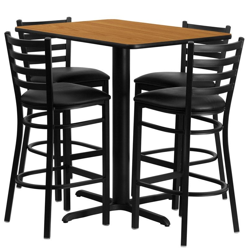 Dyersburg 5pcs Table Set Rectangular 24'' x 42''L Natural Laminate, Barstool