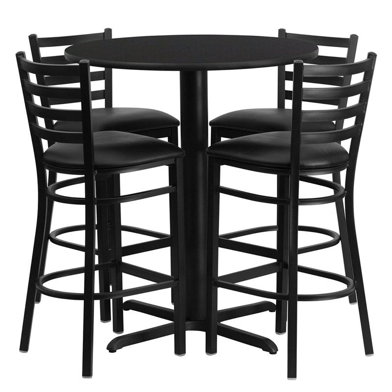 "Dyersburg 5pcs Table Set Round 30"" Black Laminate X-Base, Black Barstool"