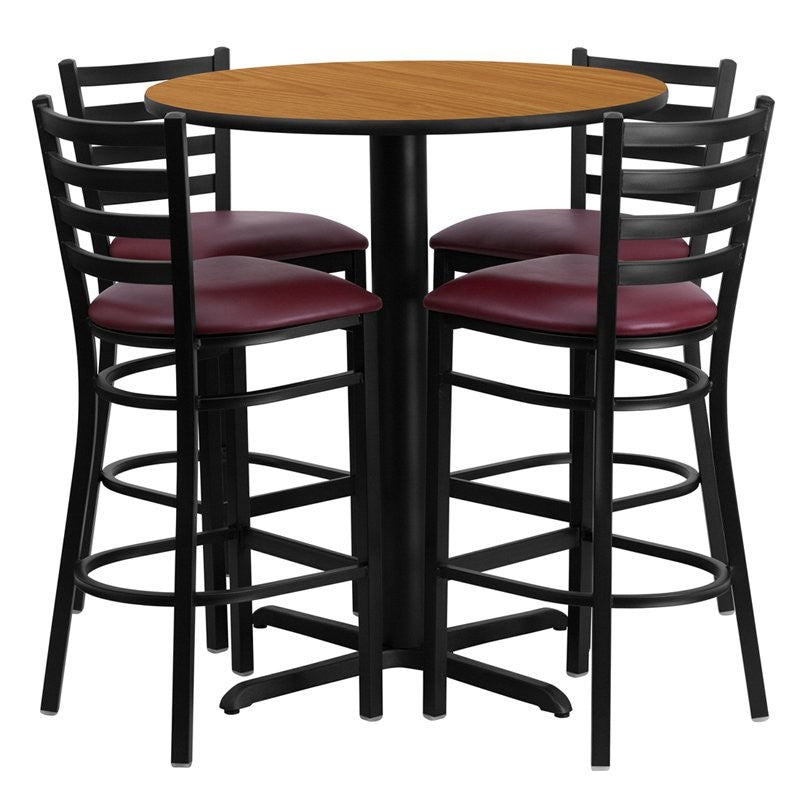 "Dyersburg 5pcs Table Set Round 30"" Natural Laminate X-Base, Burgundy Barstool"