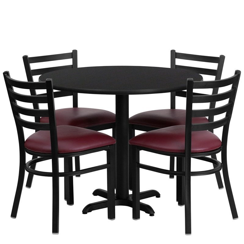 "Dyersburg 5pcs Table Set Round 36"" Black Laminate X-Base, Burgundy Chair"