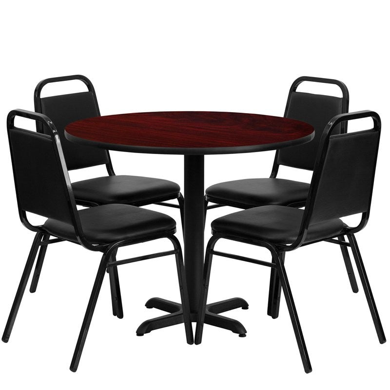 "Dyersburg 5pcs Table Set Round 36"" Mahogany Laminate X-Base, Black Banquet Chair"