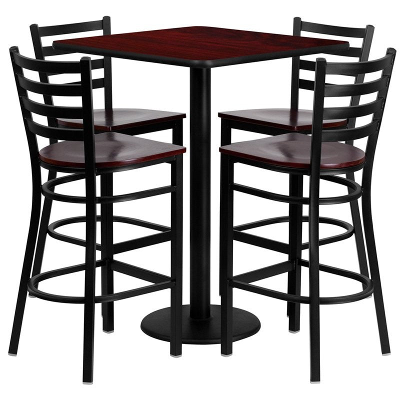 "Dyersburg 5pcs Table Set Square 30"" Mahogany Laminate, Mahogany Wood Barstool"