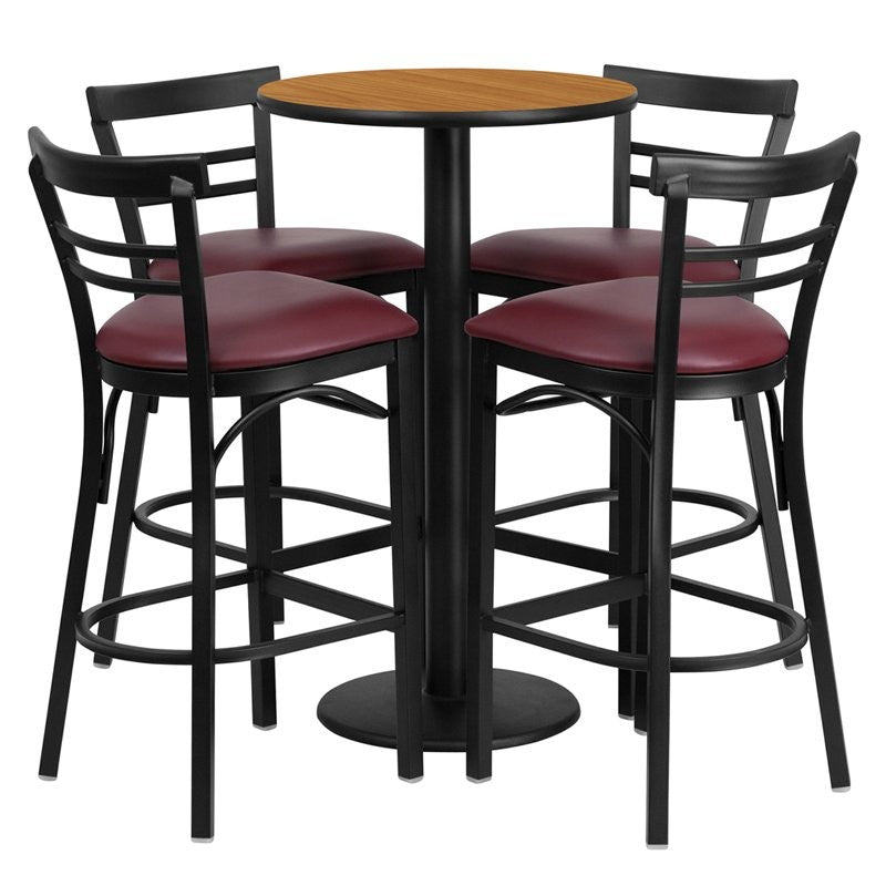 "Dyersburg 5pcs Table Set Round 24"" Natural Laminate, Burgundy Vinyl Barstool"