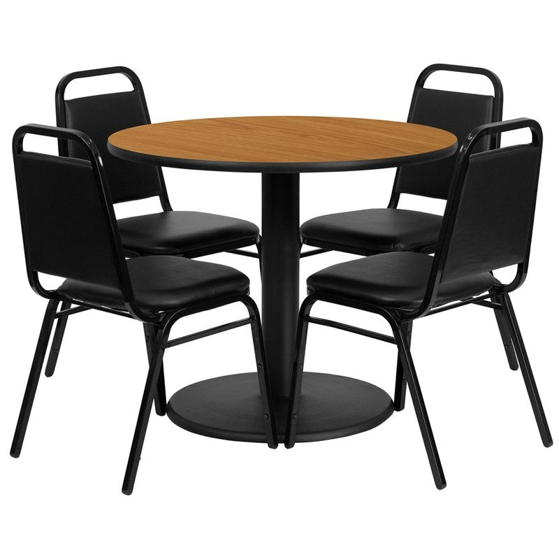 "Dyersburg 5pcs Table Set Round 36"" Natural Laminate, Black Banquet Chair"
