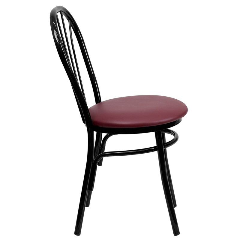 Dyersburg Metal Chair Fan Back, Burgundy Vinyl Seat