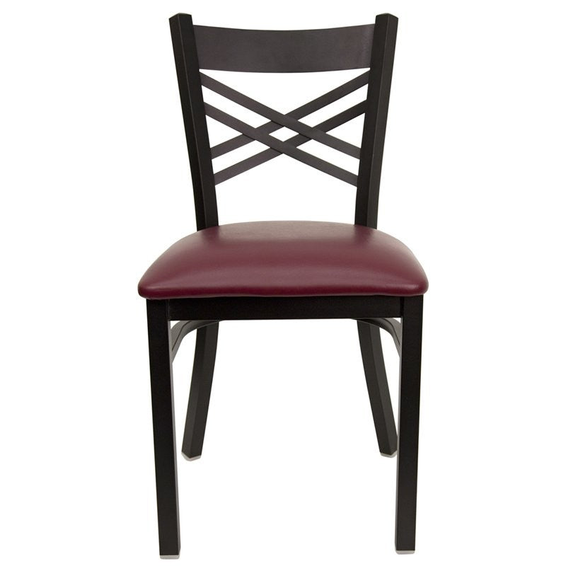 Dyersburg Metal Chair Black ''X'' Style Back, Burgundy Vinyl Seat
