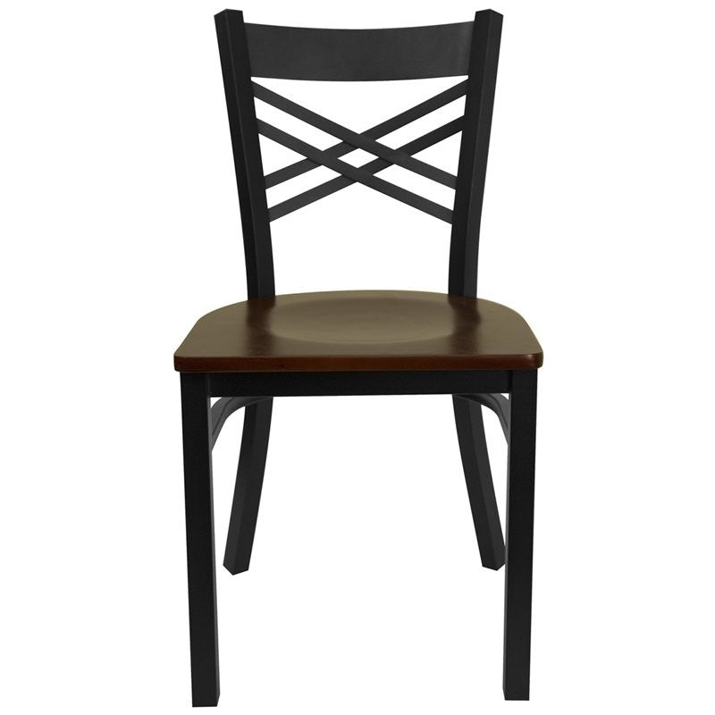 Dyersburg Metal Chair Black ''X'' Style Back, Mahogany Wood Seat