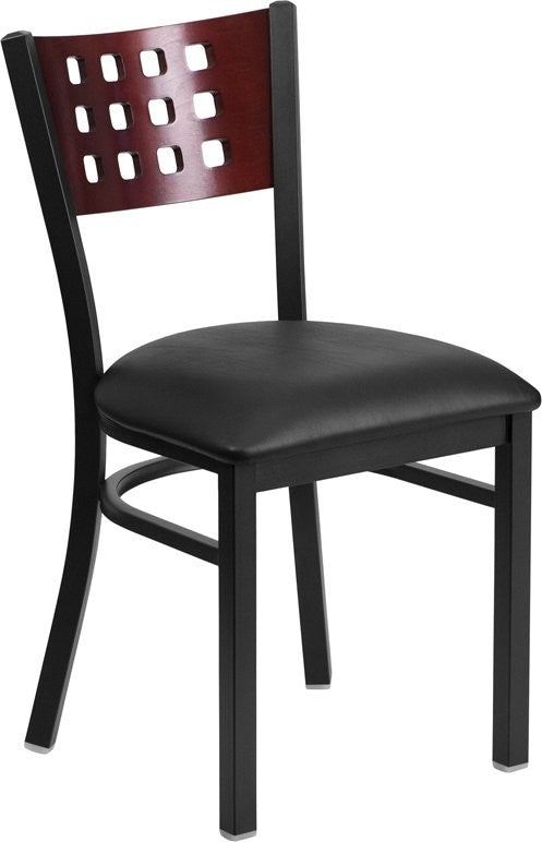 Dyersburg Metal Chair Black Cutout Back, Mahogany Wood Back, Black Vinyl Seat