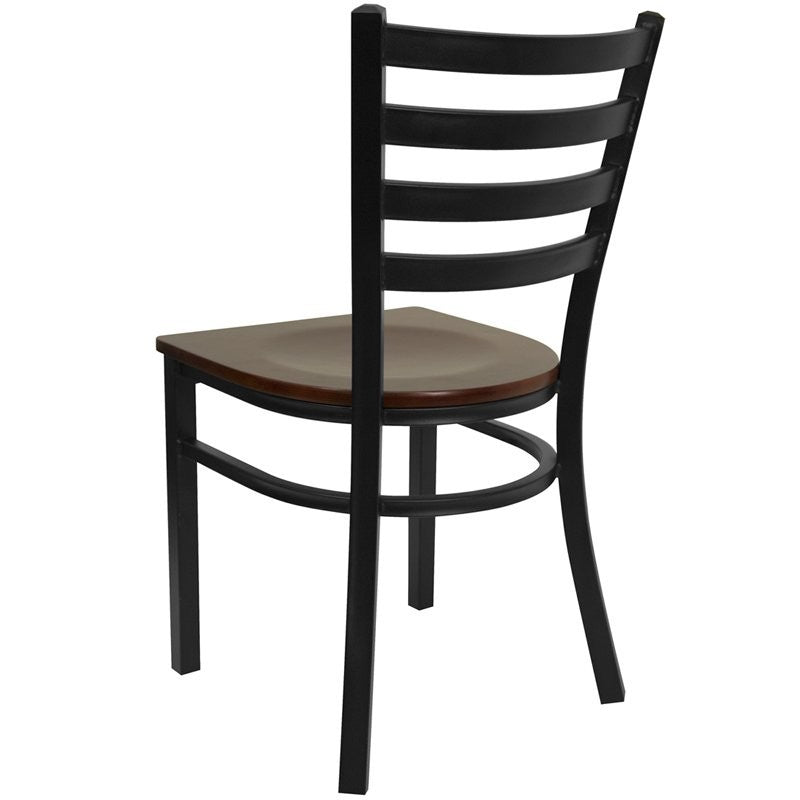 Dyersburg Metal Chair Black Full Ladder Back, Mahogany Wood Seat