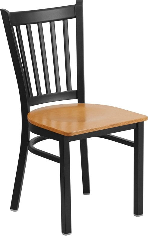 Dyersburg Metal Chair Black Vertical Back, Natural Wood Seat