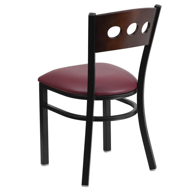 Dyersburg Metal Chair Black 3 Circle Back, Walnut Wood Back, Burgundy Vinyl Seat