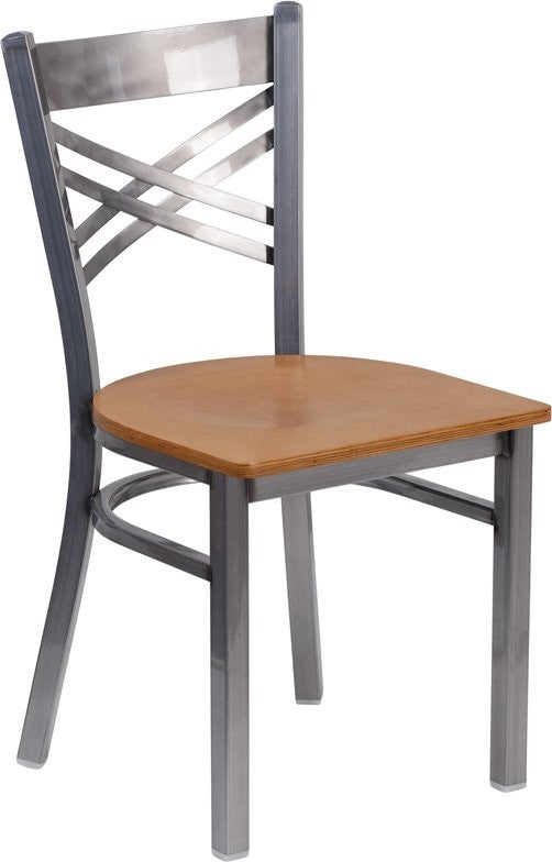 Dyersburg Metal Chair Clear Coat ''X'' Style Back, Natural Wood Seat