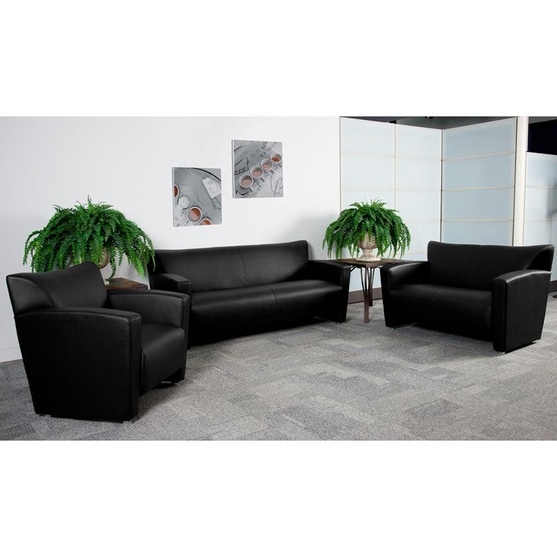 Brielle 3pcs Office Leather Sofa Sets, Black, Alum Ft