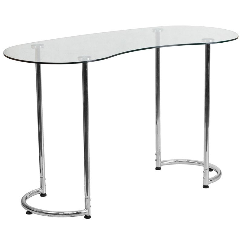 Forsan Computer Desk w/Clear Tempered Glass