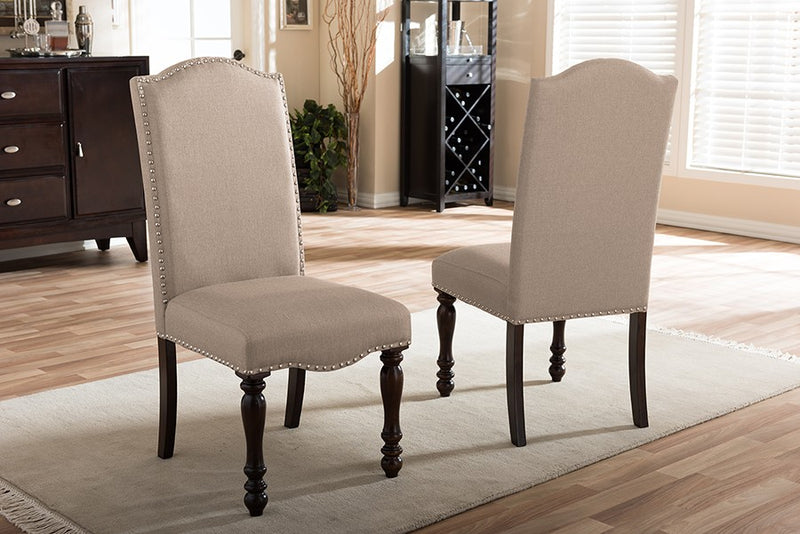 Zachary Beige Linen Fabric Upholstered Dining Chair - 2pcs