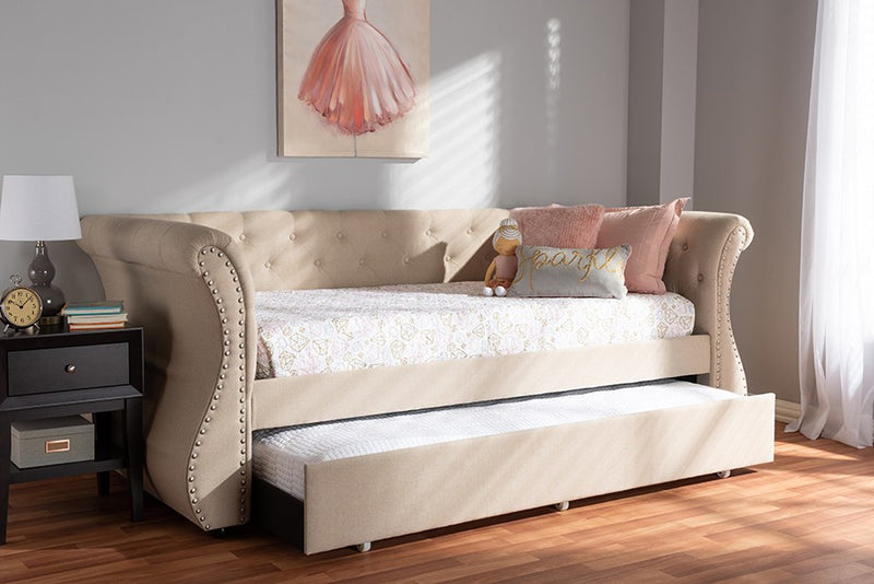 Cherine Beige Fabric Upholstered Daybed w/Trundle (Twin)