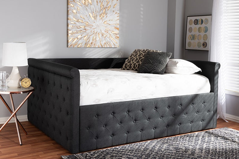 Amaya Dark Grey Fabric Upholstered Daybed (Queen)