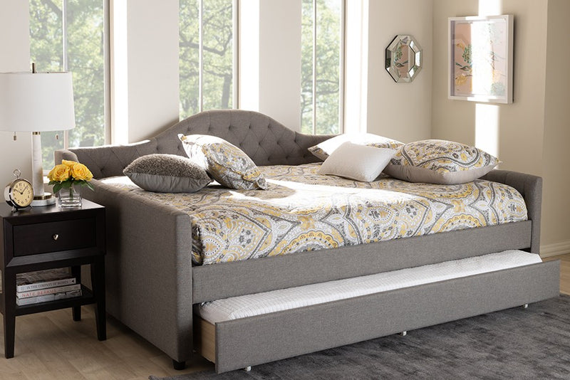 Eliza Grey Fabric Upholstered Daybed w/Trundle (Queen)