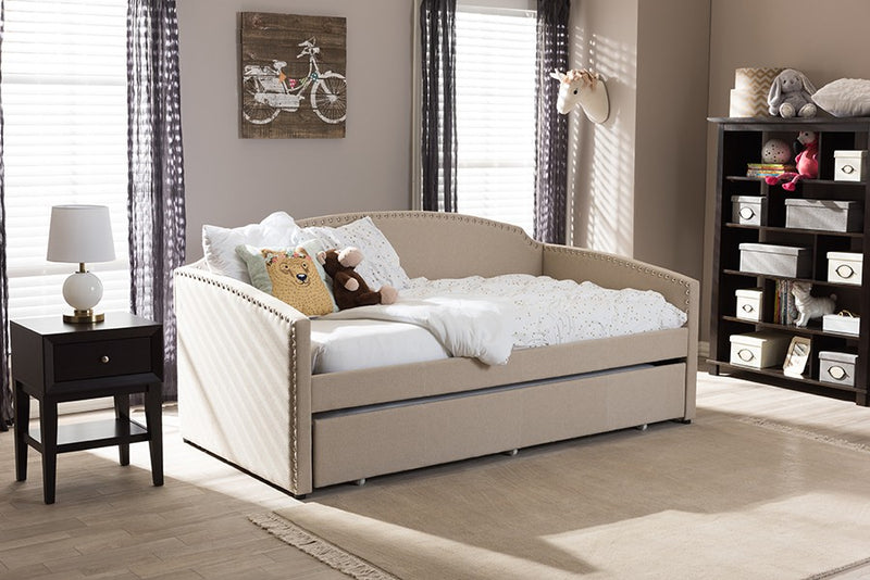 Lanny Beige Linen Fabric Sofa Twin Daybed with Roll-Out Trundle Guest Bed