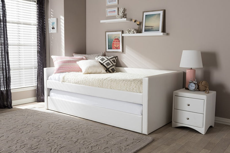 Reeve Modern and Contemporary White Faux Leather Twin Size Daybed Bed Frame with Trundle
