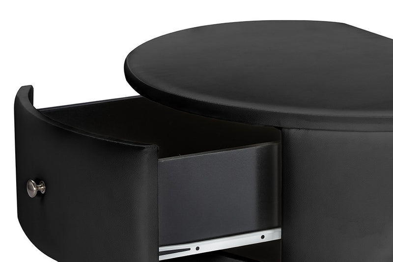 Ritchie Black Faux Leather Oval Upholstered Modern Nightstand