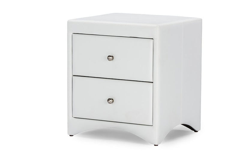Dorian White Faux Leather Upholstered Modern Nightstand