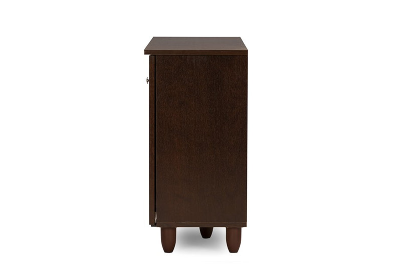 Winda 3-Door Dark Brown Wooden Entryway Shoes Storage Cabinet