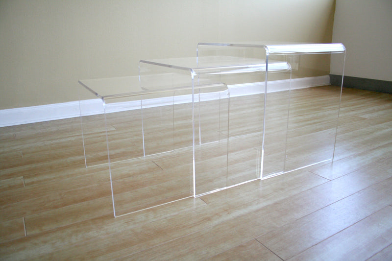 Acrylic Nesting Table 3-PCS Table Set Display Stands