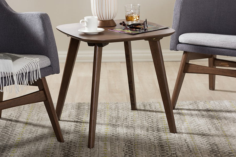Dahlia Mid-Century Modern Walnut Wood End Table